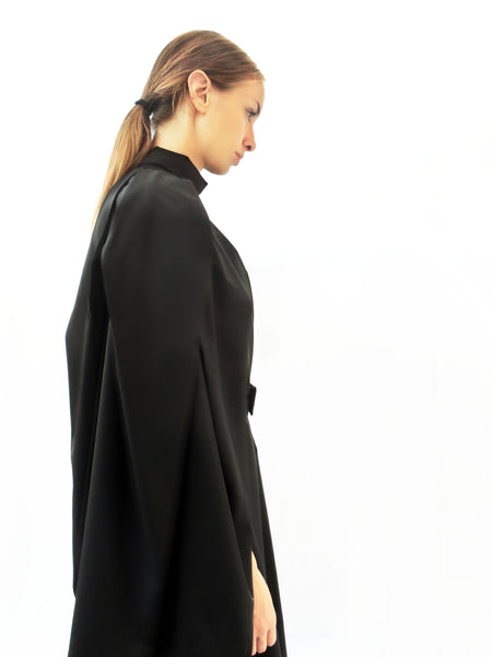 High Collar Anglar Pleated Dress / Black / 100% Virgin Wool - YOJIRO KAKE OFFICIAL