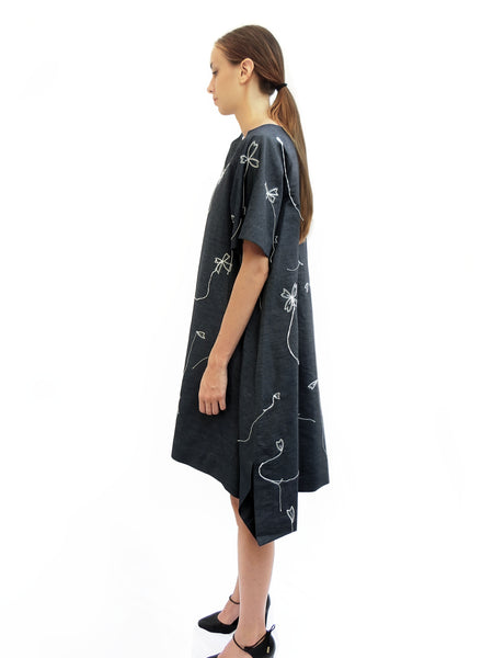 Light denim Dress with Blossoms Stitched Embroidery/ Navy/ 100% Cotton - YOJIRO KAKE OFFICIAL