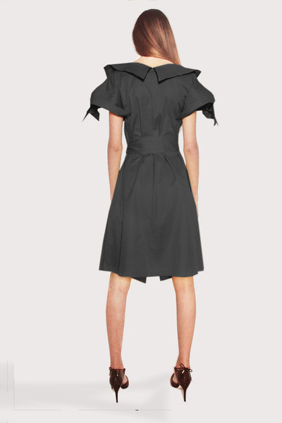 Origami Cotton Tailored Dress / Black - YOJIRO KAKE OFFICIAL