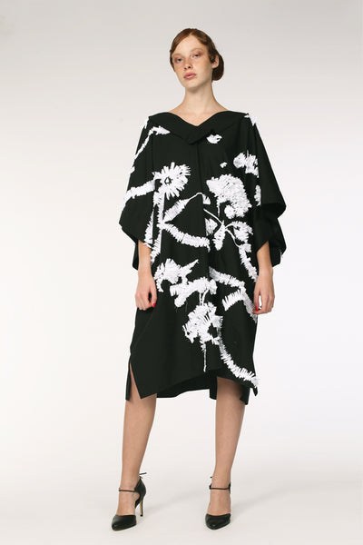 Cotton Caftan with Embroidery / Black&White - YOJIRO KAKE OFFICIAL