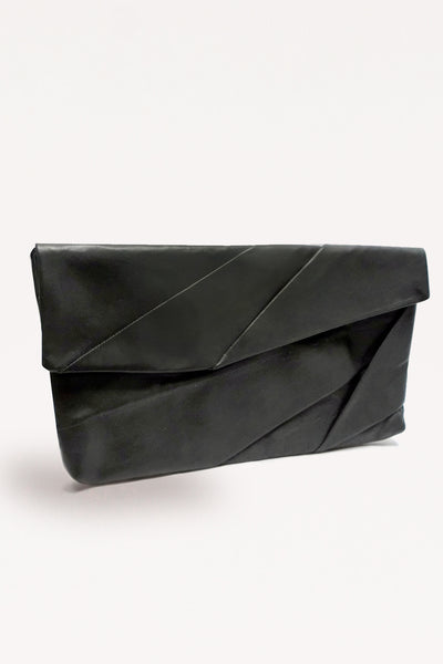 Complex Pleats Leather Clutch Bag / Black - YOJIRO KAKE OFFICIAL