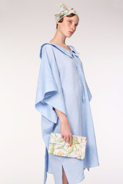 Complex Pleats Linen Clutch Bag / Print - YOJIRO KAKE OFFICIAL