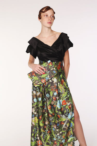 Open Collar High Waist Silk Maxi Dress / Black & Print - YOJIRO KAKE OFFICIAL