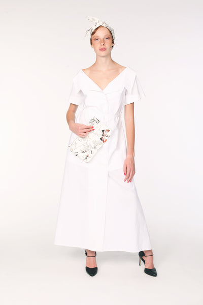 Open Collar Short Sleeves Cotton Maxi Shirt / White - YOJIRO KAKE OFFICIAL