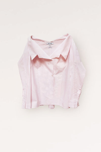 Open Collar Long Sleeves Cotton Shirt/ Powder Pink - YOJIRO KAKE OFFICIAL