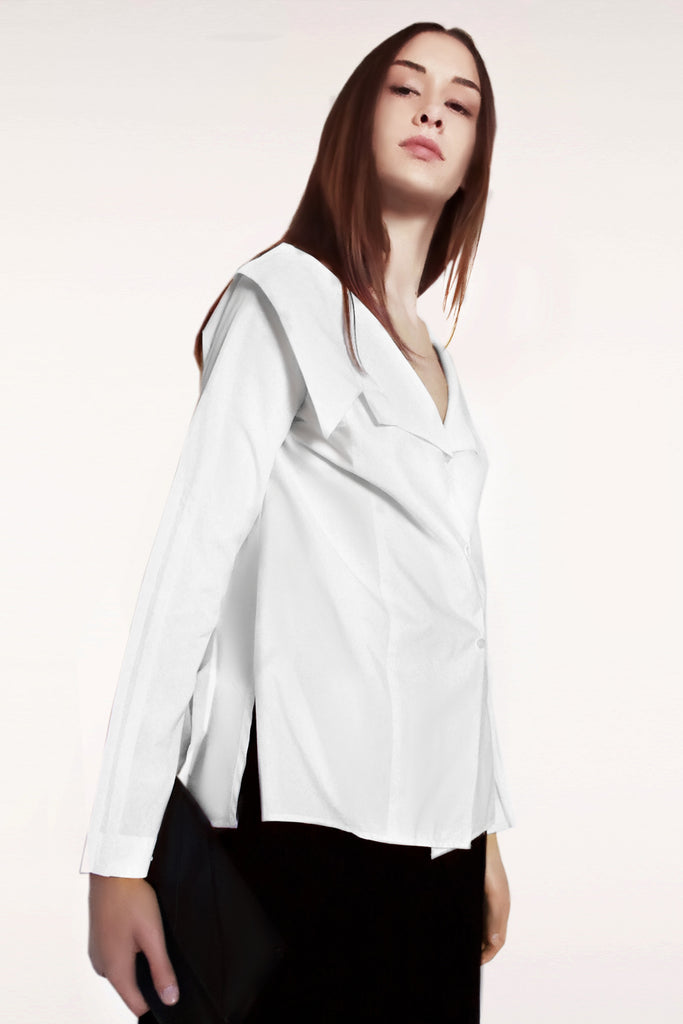 Open Collar Long Sleeves Cotton Shirt / White - YOJIRO KAKE OFFICIAL