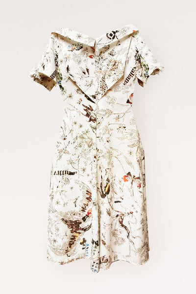 Open Collar Midi Cotton Shirt Dress/ Print - YOJIRO KAKE OFFICIAL