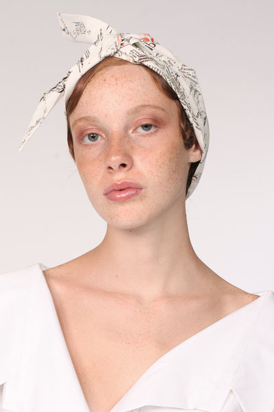 Origami Turban with Ribbon/ Print - YOJIRO KAKE OFFICIAL