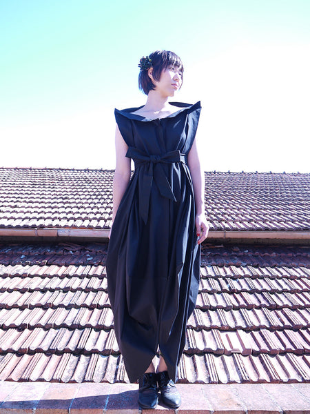 Origami Buri Cotton Shirt Dress / Black - YOJIRO KAKE OFFICIAL