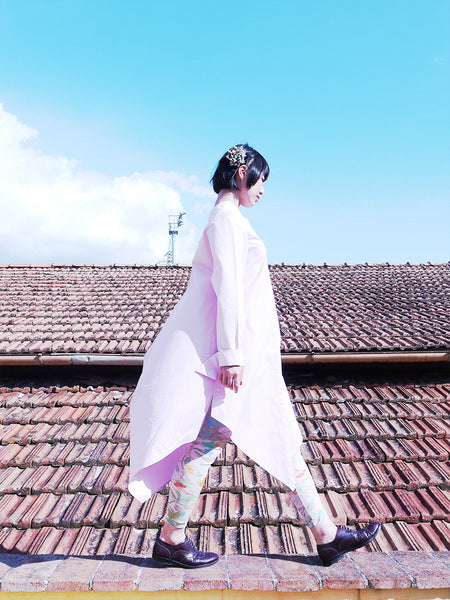 Origami Cotton Shirt Dress / Pink - YOJIRO KAKE OFFICIAL