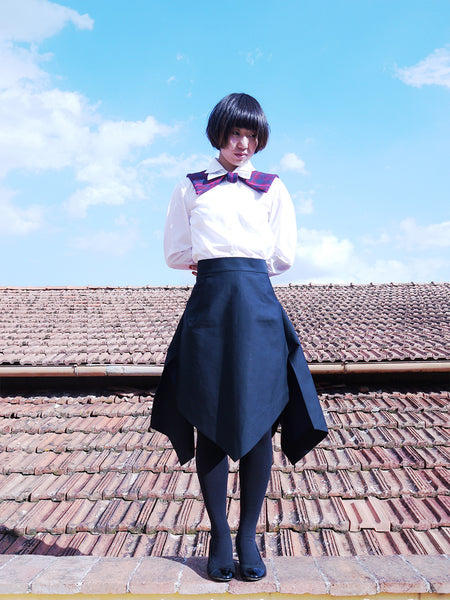 Origami Double Face Cotton  Wide Skirt / Black - YOJIRO KAKE OFFICIAL