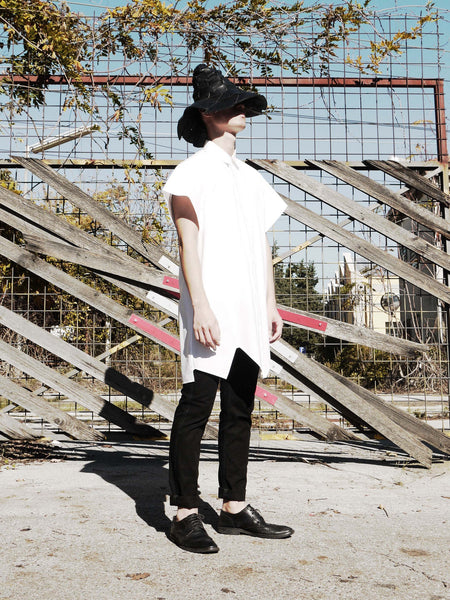 Origami Short-sleeves Midi Shirt / White - YOJIRO KAKE OFFICIAL