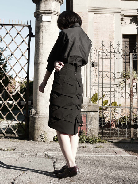 Origami Pleating Skirt / Black - YOJIRO KAKE OFFICIAL