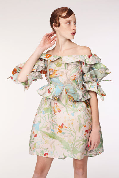 Squarish Sleeves Origami Silk Organdy Dress / Paper Collage Print - YOJIRO KAKE OFFICIAL