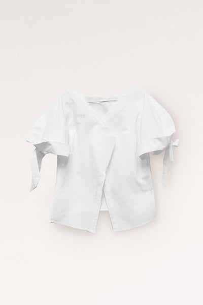 Squarish Sleeves Cotton Top / White. - YOJIRO KAKE OFFICIAL