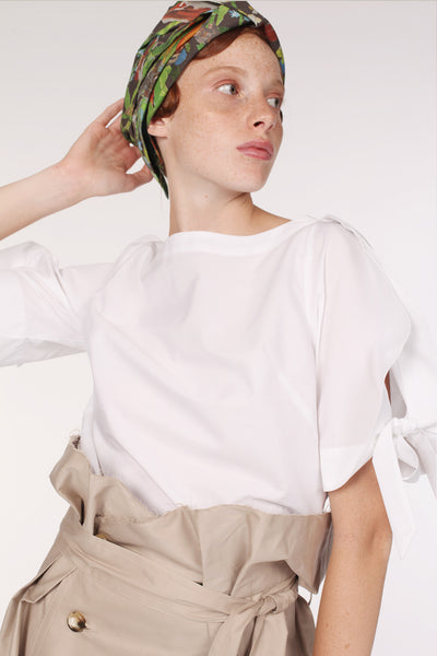 Squarish Sleeves Cotton Top / White - YOJIRO KAKE OFFICIAL