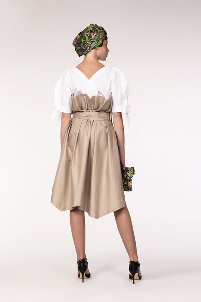 Cotton Trench Skirt / Beige - YOJIRO KAKE OFFICIAL