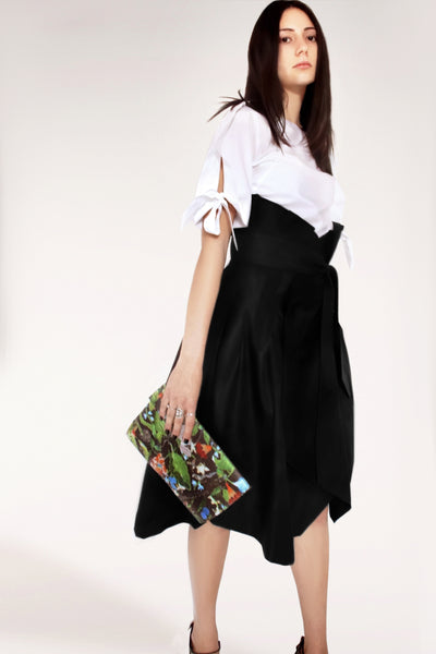 Cotton Trench Skirt / Black - YOJIRO KAKE OFFICIAL
