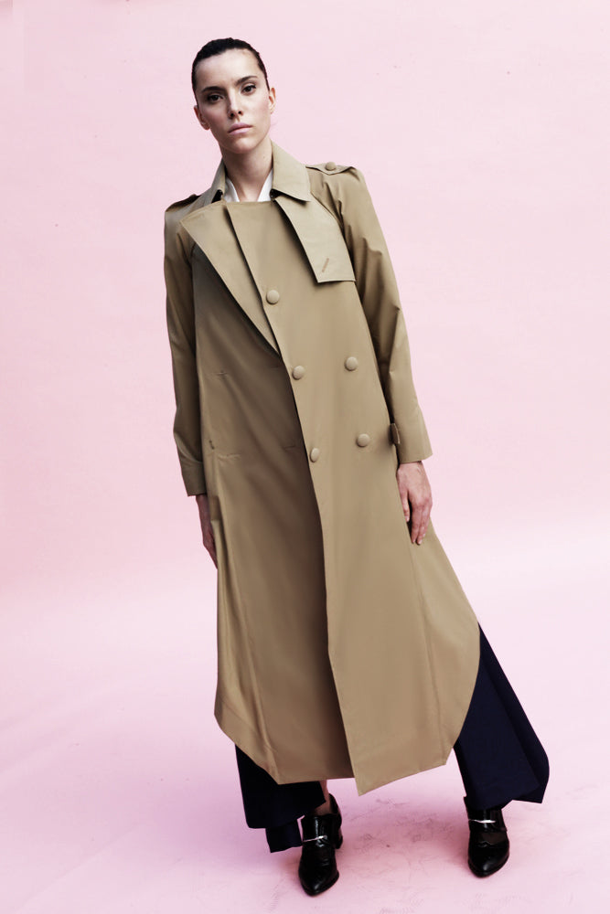 Origami Cotton Trench Coat / Khaki - YOJIRO KAKE OFFICIAL