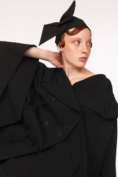 Wide Tailored Collar Summer Wool Cape / Black - YOJIRO KAKE OFFICIAL
