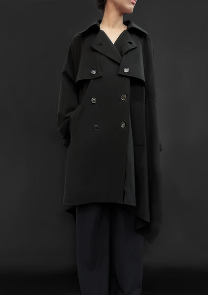 Virgin Wool Trench Cape / Black - YOJIRO KAKE OFFICIAL