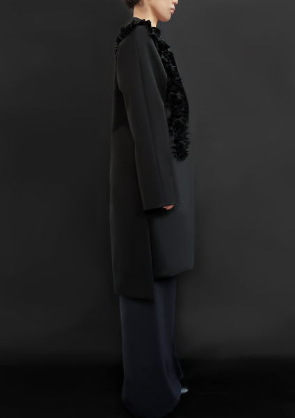 Wool Coat With Decorative Flower / Black - YOJIRO KAKE OFFICIAL