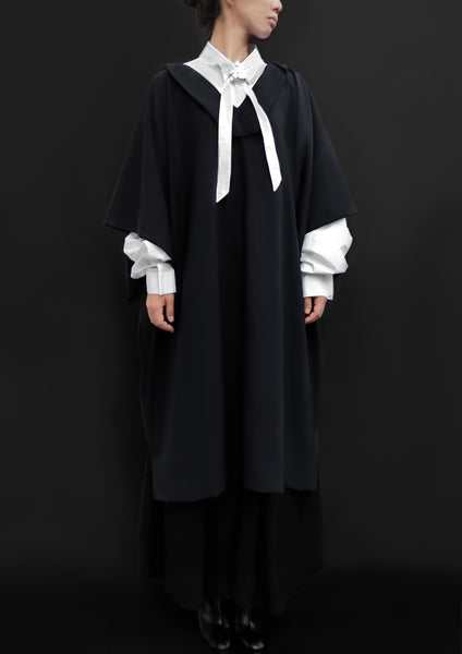 Virgin Wool Caftan Cape Dress / Navy - YOJIRO KAKE OFFICIAL