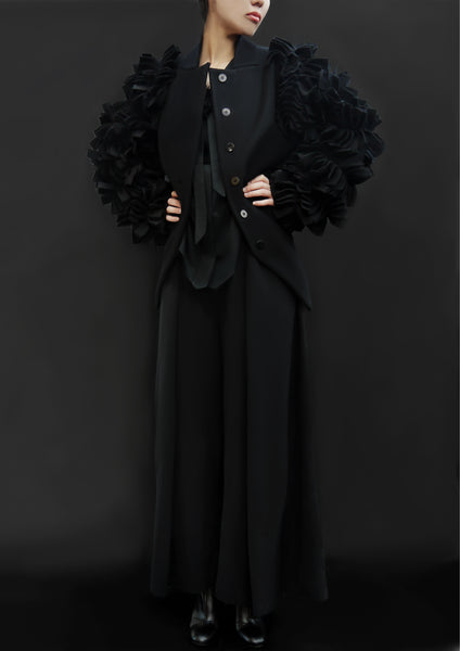 Wool Petals Sleeves Jacket / Black - YOJIRO KAKE OFFICIAL
