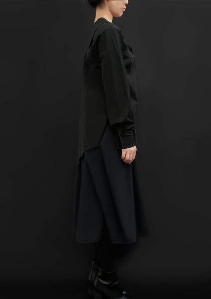 Complex Pleats Virgin Wool Skirt / Navy - YOJIRO KAKE OFFICIAL
