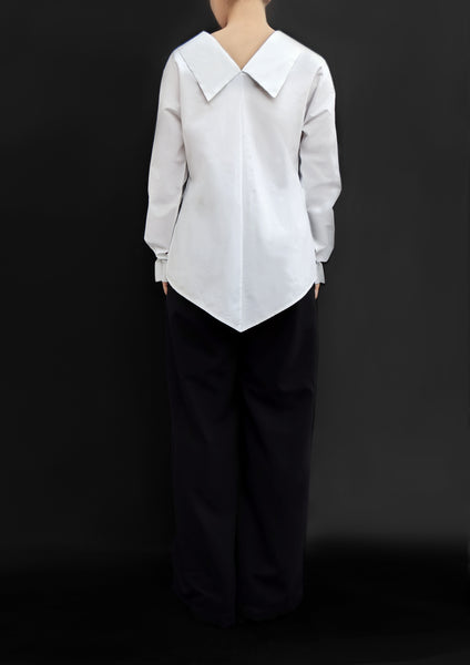 Origami Long Sleeves Cotton Shirt With Flower Ribbon / White - YOJIRO KAKE OFFICIAL