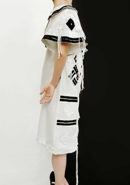 Hand Made Decoration Dress / White - YOJIRO KAKE OFFICIAL