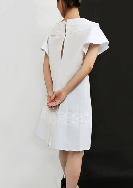 Hand Made Decoration Short  Dress / White - YOJIRO KAKE OFFICIAL