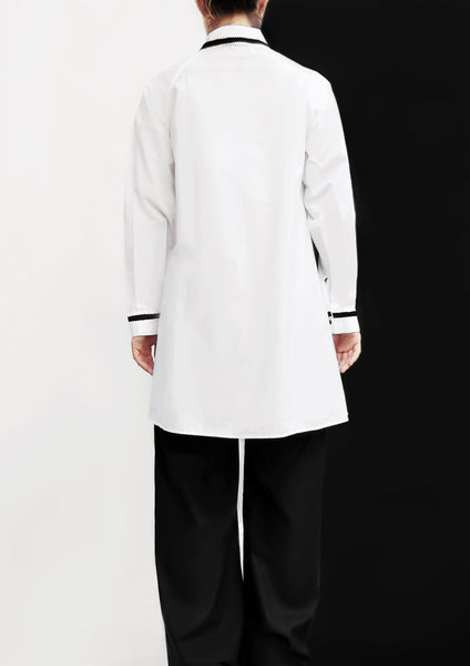 Hand Decoration Long Sleeves Shirt / White - YOJIRO KAKE OFFICIAL