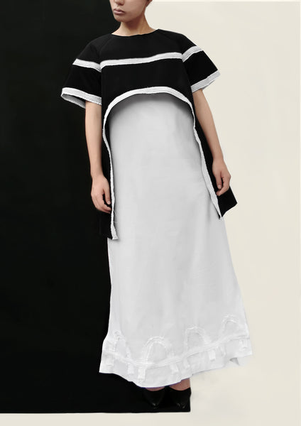 Hand Made Decoration Cotton Dress / White - YOJIRO KAKE OFFICIAL