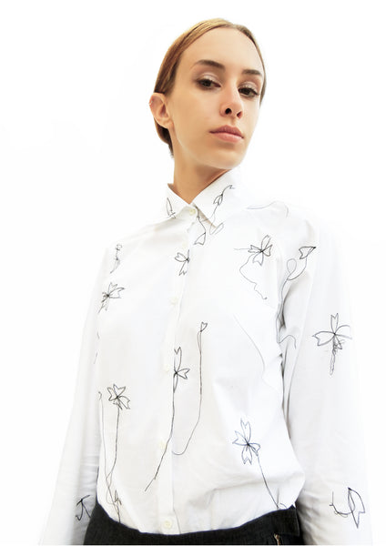 High Collar Flower Stitching Embroidered Shirt/ White/ 100% Cotton - YOJIRO KAKE OFFICIAL