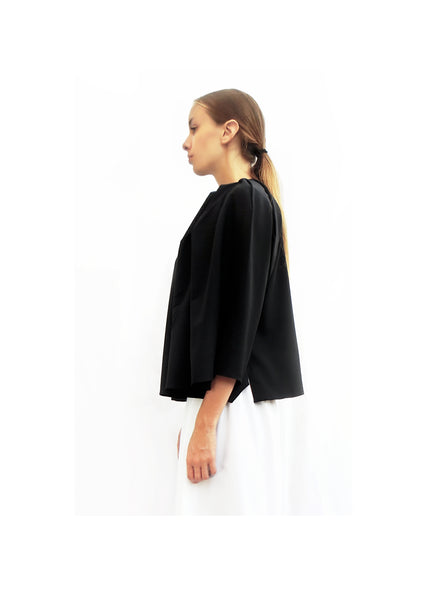 Angular pleated Top/ Navy / 100% Virgin Wool - YOJIRO KAKE OFFICIAL