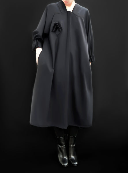 Origami Collar Virgin Wool Puff Sleeves Dress / Navy - YOJIRO KAKE OFFICIAL