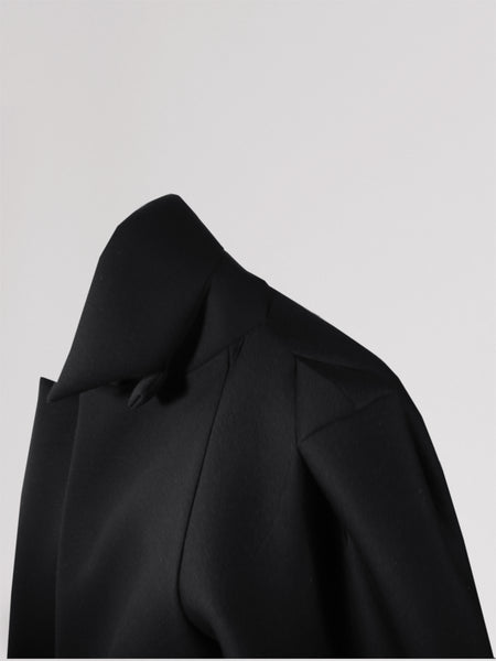 Origami Triangle Shoulder Wool Coat / Black - YOJIRO KAKE OFFICIAL
