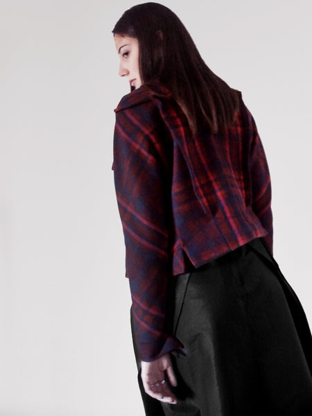 Origami Folded Wool Short Jacket / Checks - YOJIRO KAKE OFFICIAL
