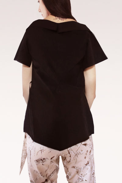 Open Collar Short Sleeves Cotton Shirt / Black - YOJIRO KAKE OFFICIAL
