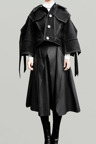 Wool Squarish Sleeves Jacket/ Black