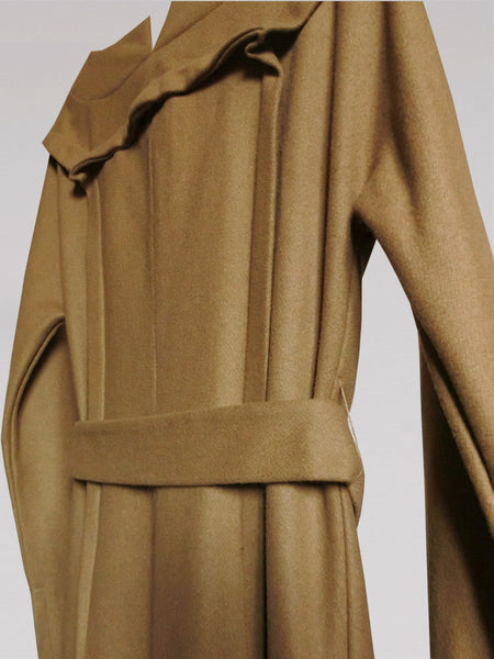 Origami Folded Midi Wool Coat / Camel - YOJIRO KAKE OFFICIAL