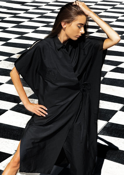 Wrapping Shirt Dress / Black - YOJIRO KAKE OFFICIAL