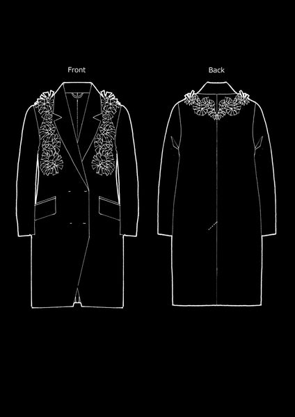 Wool Coat With Flower Petals / Black