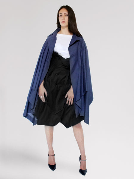 Origami Stain Collar Light Denim Cape / Navy - YOJIRO KAKE OFFICIAL