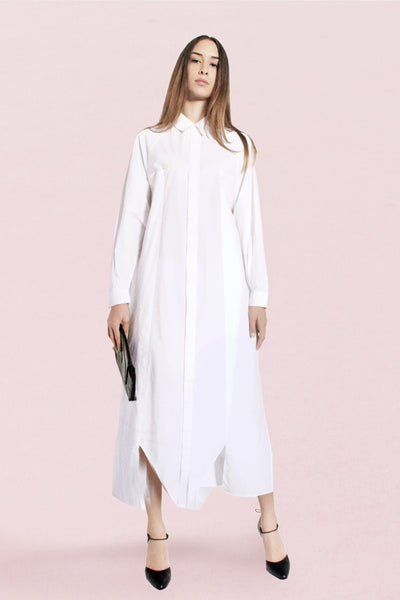 Origami Cotton Long Sleeves Maxi Shirt / White - YOJIRO KAKE OFFICIAL