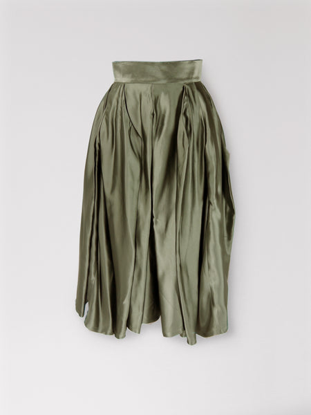 Origami Viscose Complex Pleats Skirt / Olive - YOJIRO KAKE OFFICIAL