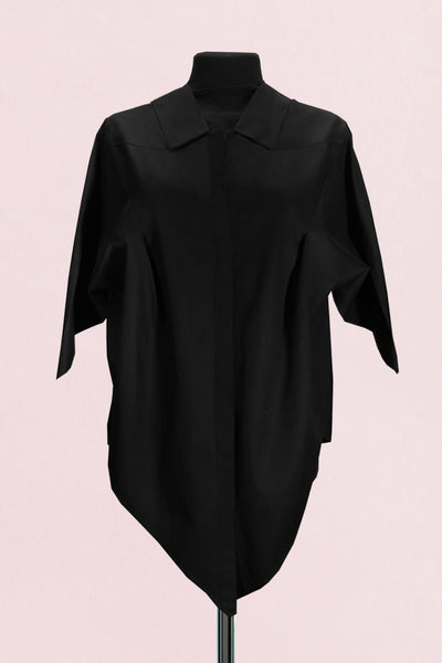 Origami Short Sleeves Classic Cotton Shirt / Black - YOJIRO KAKE OFFICIAL