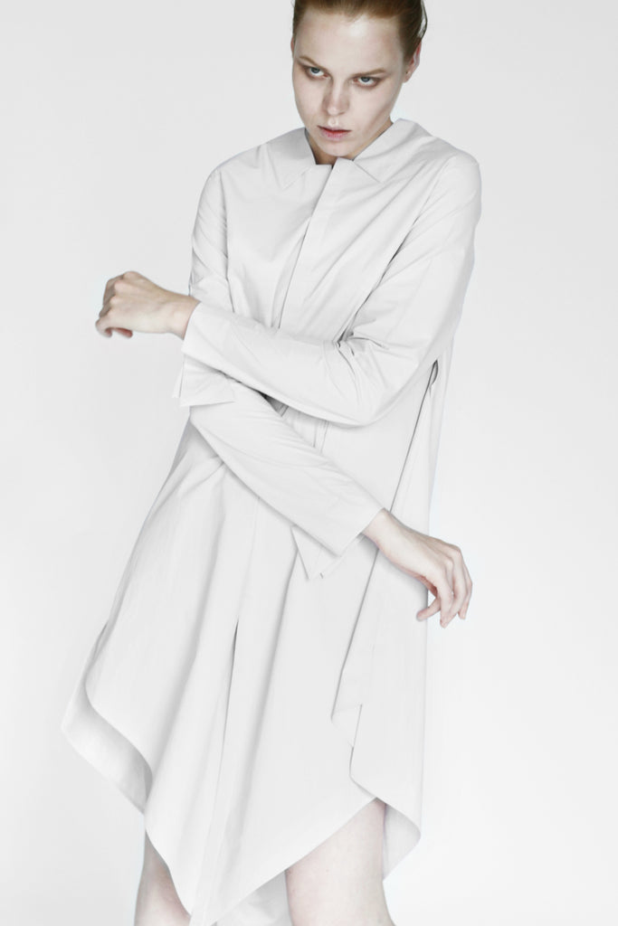 Origami Cotton Shirt Dress / White - YOJIRO KAKE OFFICIAL