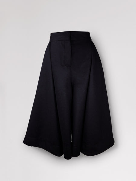 Origami Midi Wide Wool Trousers / Navy - YOJIRO KAKE OFFICIAL
